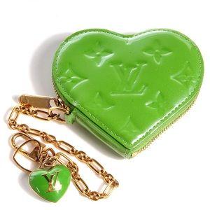 Louis Vuitton Green Heart Key Chain Coin Purse 💚